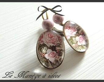 "Earrings ""pretty rose romantic of yesteryear""bronze metal."