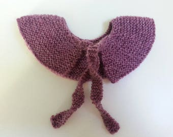 Peter Pan collar removable wool Heather 0-3 month - birthday gift idea