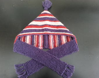 Hat-(6-36 months) striped red, beige, purple, pink scarf in wool and Alpagha