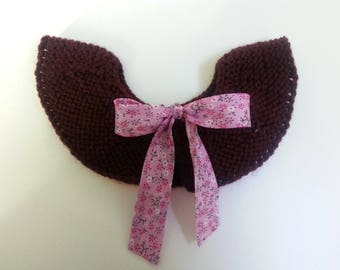 Peter Pan collar removable Burgundy wool accented with a liberty bow 6-36 month - birthday gift idea