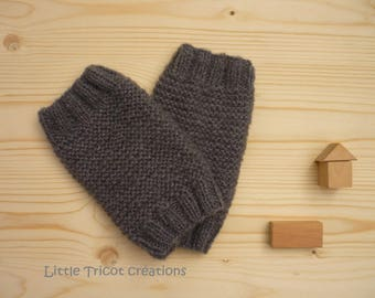 Dancer leg warmers (6/8 years) grey, hand-made in wool