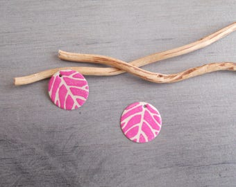 Set of 4 charms ivory and hot pink sequins