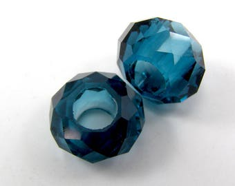 Set of 2 European beads 14 mm round faceted translucent glass Prussian blue