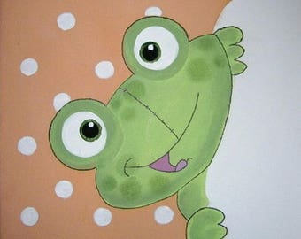 the little frog canvas 20x20cm acrylic personalized with child's name