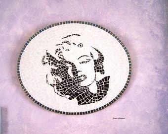 Cadre ovale mosaïque Marylin MONROE