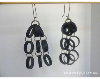 Cascade in inner tube recycled earrings