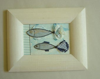 """Frame rectangular """"two fish"""", wire, paper and lace"""