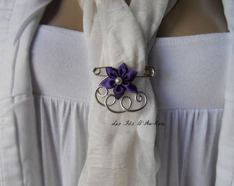 Purple satin flower brooch