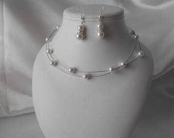 Set 2 wedding pieces GABRIELLE necklace & earring