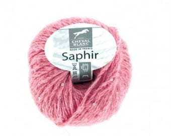 Wool knit mohair Sapphire of horse white # 056 old rose