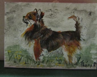 very cute Chihuahua in profile painted on canvas