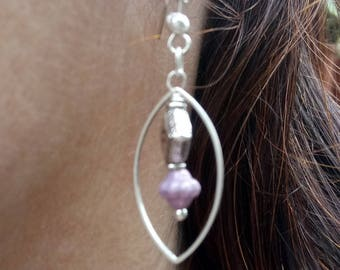 Saturn purple navette earrings