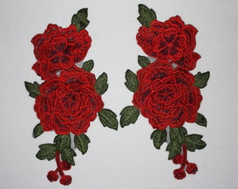 Pair of red flower applique
