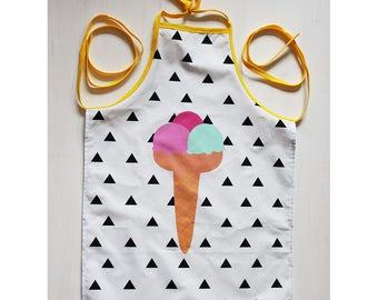 Child apron in cotton - cream cone glacce