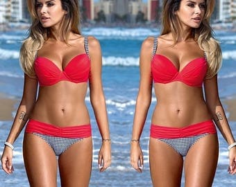 Women's UK Red Padded Push Up Bra Bikini Set Swimwear Beachwear