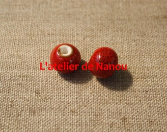handmade 10mm red ceramic bead