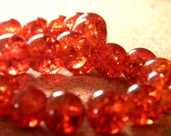 glass Crackle 8 mm - orange - PE137 50 beads