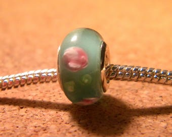 bead charm European glass lampwork - 13 x 8 mm-Green with Pink Pearl encrusted European C64 3