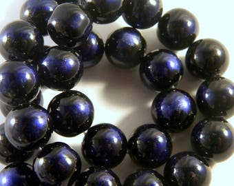 black and white glass blue royal 12 PV70-4 mm 10 beads