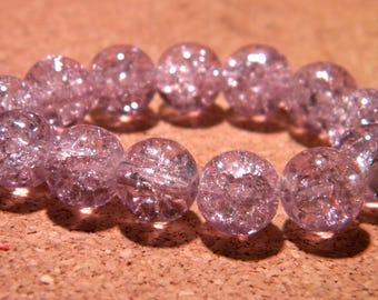 20 10 mm - purple - PF67 Crackle glass beads