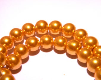 50 8 mm - shiny-gold-PG243-5 mother of Pearl glass beads