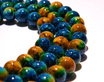 shiny 2 tone - 8 mm turquoise and mustard - PG42 20 beads marbled glass