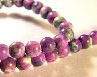 25 beads Malaysian jade mauve 6 mm-- gem stone - to-PP-16