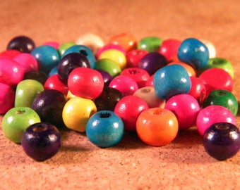 50 painted wooden beads natural multicolor 8 mm B15