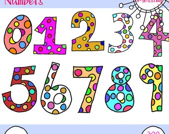 Hand Drawn Colorful Number Clip Art PNG Images