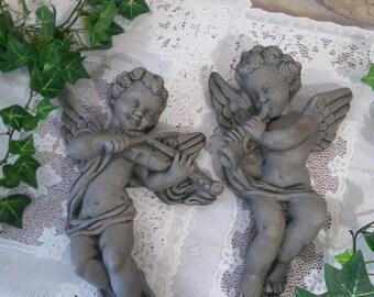 2 big patinated antique Angels