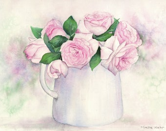 """Original watercolour, exemplary unique """"bouquet of roses"""", painted in Provence, France, watecolor"""