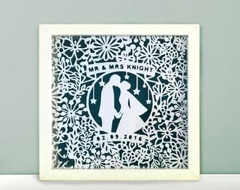 Personlised Wedding Papercut Frame. Included Names and Dates. Perfect Wedding Gift.
