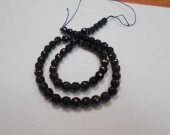 1 strand of 60 round beads black agate faceted 6 mm
