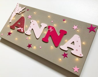 Canvas light pink fairy girl, taupe and pink raspberry - Anna name - first name letter wood - wood - baby decor child's name