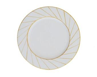 """Nautilus"" Limoges painted porcelain plate handmade geometric pattern"