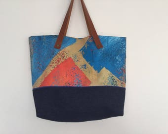 """Hand painted Tote, beige, orange and blue jeans """"Graphic"""""""