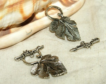 Toggles clasps X 2 leaf vine silver 40 mm new