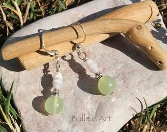 Earrings stones Jade and grain of rice