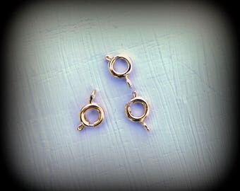 Gold spring ring clasp 6 mm (x 3 or 6)