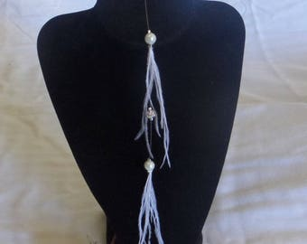 Back necklace wedding, bride jewelry beads and feathers, rhinestones