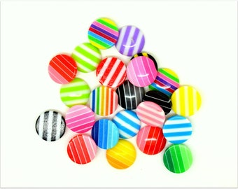 20 small round striped multicolored resin cabochons