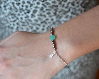 Green Zirconium 925 silver bracelet