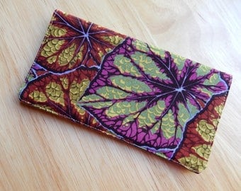 """Checkbook Cover 6.5""""x3.5"""", Coupons Wallet, Cash Holder in Big Leaves Fabric"""
