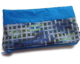 Small Multi Purpose Bag Blue Grid Fabric, Pencil Case, Coin Purse, Toiletries Pouch, Documents Holder, Fully Lined, Zippered