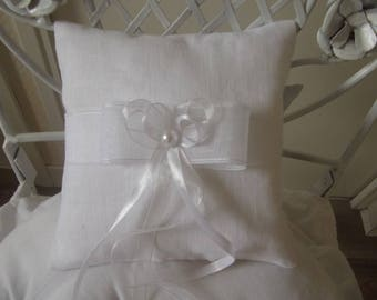 white linen and organza wedding ring pillow cushion