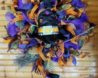 Witch and her broom wreath, front door wreath, Halloween wreath, witch wreath