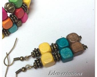 Ethnic earrings, wooden beads, bronze