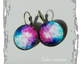 Earrings glass cabochon Galaxy turquoise and fuchsia