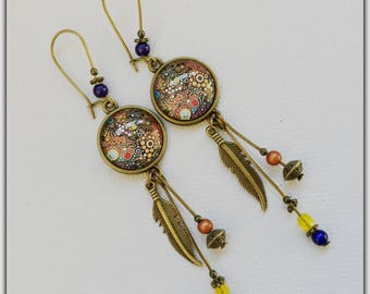 Earrings, bronze, art deco, blue and Red