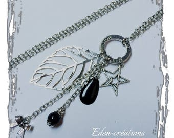 Sequins, black, and silver charms, grigri necklace, leaf necklace